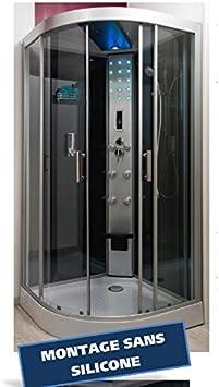 Aqua + – Cabina de ducha con hidromasaje 100 x 100 cm + LED ...
