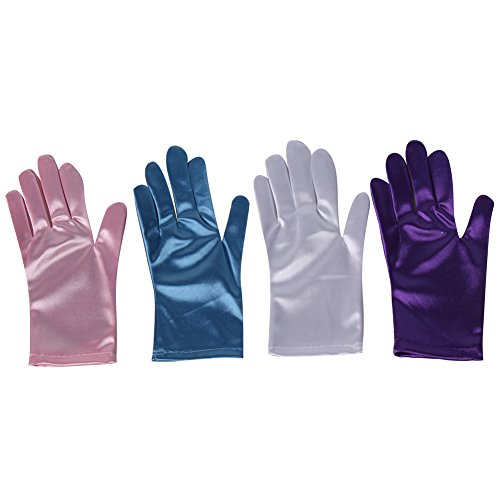 Girls Princess Gloves 4 Pack, Purple, Pink, Blue and (Imported Magic Gloves)