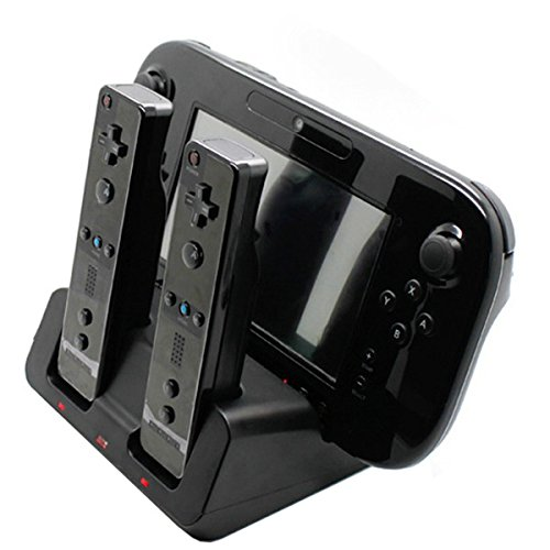 Tekdeals 3-in-1 Charger Dock Charging Station Base with Two Rechargeable Batteries and USB Cable for Wii U Remote Gamepad Controller, (Nintendo Wii Charger Dock)