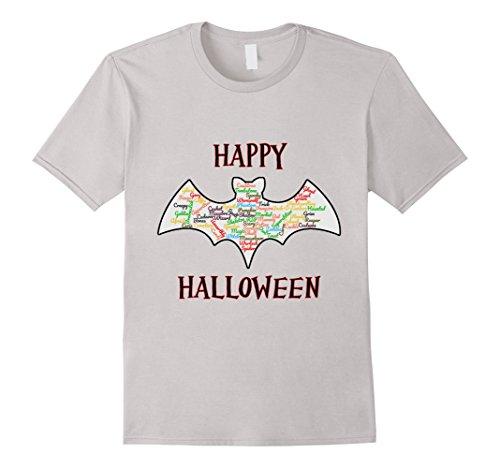 Mens Happy Halloween Bat Word Cloud Large Silver