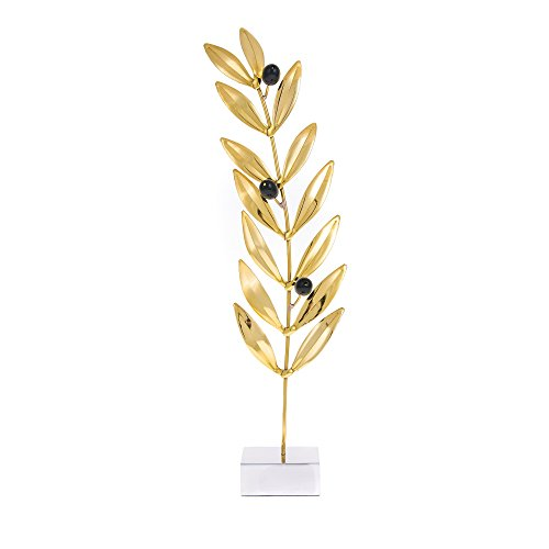 Handmade Solid Brass & Aluminum Metal, Olive Branch with Black Olives, Decorative Table Ornament, 14.5'' (37cm) -