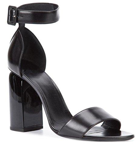 Platforms Leather Lambskin (Miyaoopark LS0622 Women's Chunky High Heel Ankle Strap Black Lambskin Leather Dress Sandals US 9)