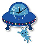 Nordic hot alien wall clock wall background children room cartoon decoration (5)