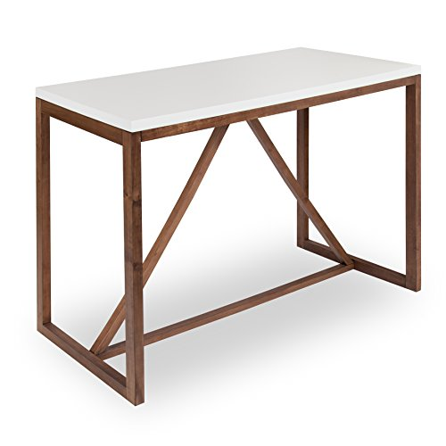 Kate and Laurel Kaya 36-Inch Tall Pub/Bar Table, Two-Toned Wood, White and Modern Walnut Brown ()