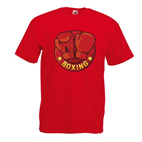 lepni.me T Shirts for Men Boxing - MMA, Kickboxing, Box Gloves (Medium Red...