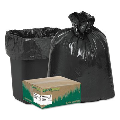 Earthsense Commercial - Recycled Can Liners, 7-10gal.65mil, 24 x 23, Black, 500/Carton RNW2410 (DMi C