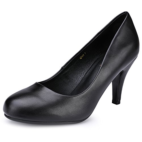 - IDIFU Women's RO4 Classic Closed Round Toe Dress Pump High Heel Slip on Party Wedding Shoes Black Pu 7.5 M US
