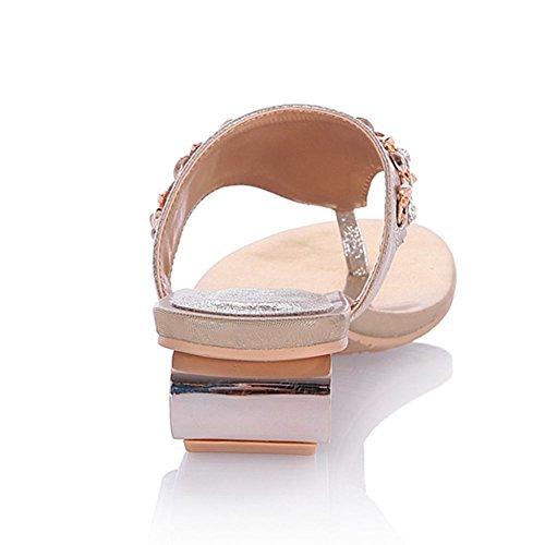 deslizantes Sandalias sandalias dorado tacón abierta DoraTasia bajo mujer para 1 puntera con pnzUw