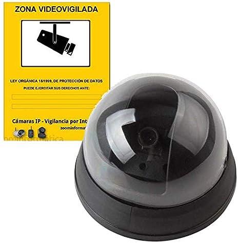alarmaszoom Camara SIMULADA Seguridad IP Falsa Fake DE Imitacion con Pegatina Cartel Zona VIGILADA Regalo DISUASORIA. VIGILANCIA. NO Real. con LED ...