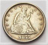 1875 S Liberty Seated 90% Silver Twenty Cent Piece AU-50+
