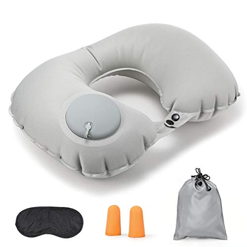 U Shaped Travel Pillow, Inflatable Neck Pillow in Press Type, Ear Plugs, Eye Mask included, Travel Support Set for Airplane Train Car, Gray