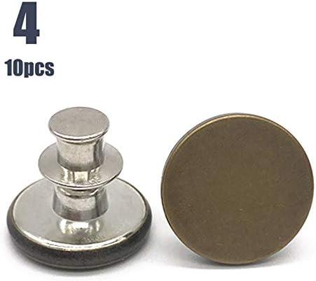 10pcs Retractable Jeans Button Adjustable Removable Stapleless Metal Button Zinc Alloy Round New