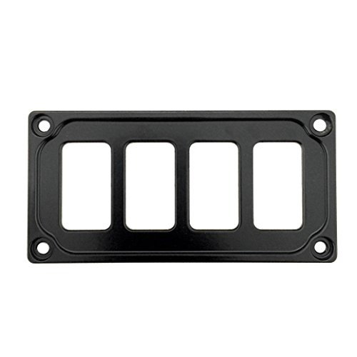 STV MOTORSPORTS Universal Switch Dash Panel Custom CNC Billet Aluminum 4 Rocker Switch Slots (Black)
