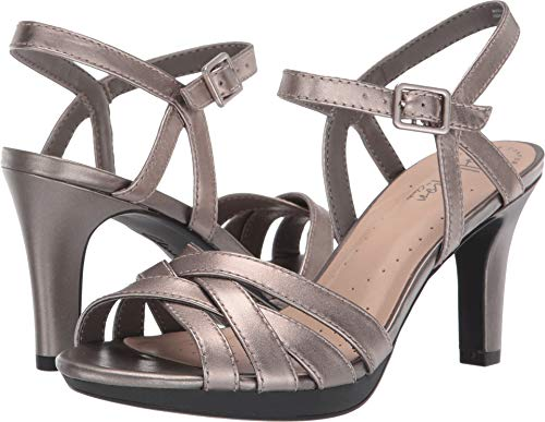 (CLARKS Women's Adriel Wavy Heeled Sandal, Pewter Leather, 085 M US)