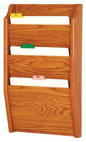 Wooden Mallet CH14-3 Medium Oak Three Pocket Wall Mounted File/Chart Holder