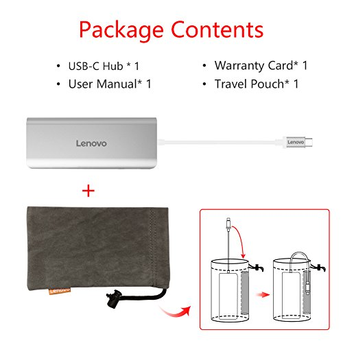 Lenovo USB-C Hub, Aluminum Type C Adapter with HDMI Port, Gigabit Ethernet Port, USBC Power Delivery, 2 USB 3.0 Ports, SD Card Reader, for 2016/2017 MacBook Pro and More USB C Devices by Lenovo (Image #7)