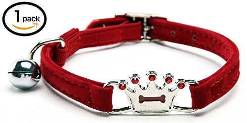 UNIGLOW PETS. Pet Charms. Pet Jewelry. Cat And Dog Collars, Pendants, Necklaces. Puppy Collar Accessories. Nickel-plated Hardware Bells. Bone Shaped PET TAGS. Pet Collar. (RED, CROWN COLLAR) ()