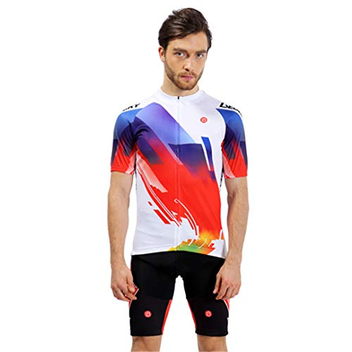 BHJMKCSW Mens Cycling Jersey Sets Summer Pro Team New Mountain Bike Clothing Cycling Set White S