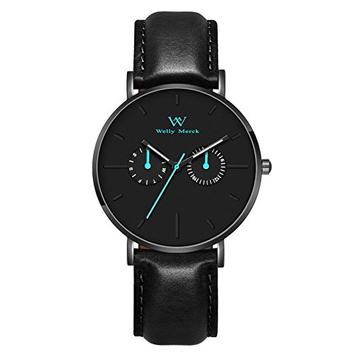 Welly Merck Men Fighter Roma Swiss Quartz Movement Black Subdials Luminous Watch with a Blue Seconds Needle Italy Genuine Leather Interchangeable Strap 20mm Black Band 50M Water (Gents Swiss Movement Watch)