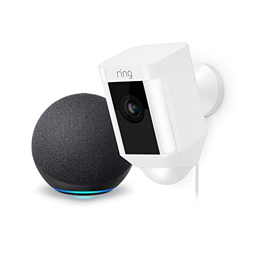 Ring Spotlight Cam Wired: Plugged-in HD Security Camera (White) and Echo Dot (4th Gen)