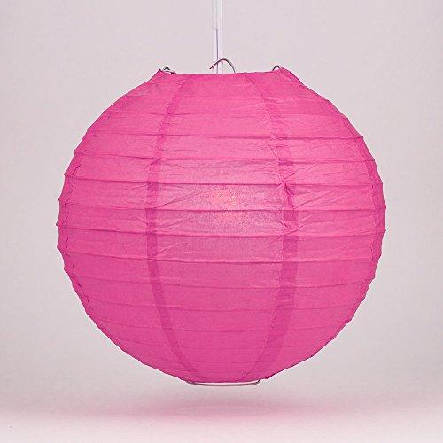 "PaperLanternStore.com 14"" Fuchsia/Hot Pink Round Paper Lantern, Even Ribbing, Hanging Decoration"