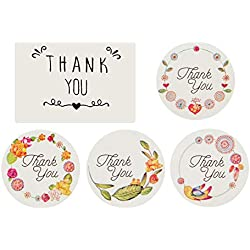 Anphsin 540Pcs Thank You Sticker – 5 Patterns Thank You Adhesive Labels with Round and Rectangle Shape for Party Bags, Wedding Favors, Thank You Cards, Envelops