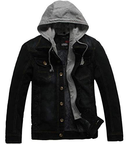 Kangqi Doublée Polaire Vêtements Pour Veste De Black Homme Hommes Capuche Denim En À 8r8Oqzw