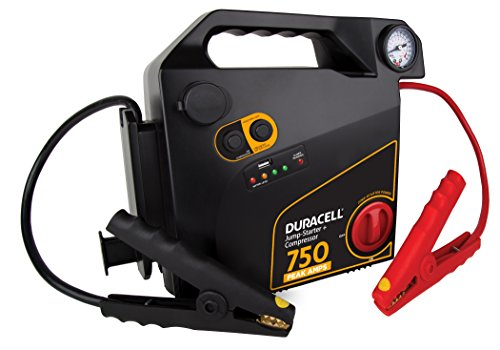 Duracell Starter - Duracell Portable Emergency Jumpstarter with Compressor, 750 Peak Amps