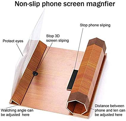 Adjustable Angle and 2 to 6-Times Distance Wooden Frame for Mobile Phone Magnifier Screen IRVING Magnifier for 3D Mobile Phone Screen Color : C 12-Inch Magnifier Zoom