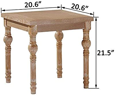 Ou0026K Furniture Farmhouse End Table Turned Legs, Side Table Living Room,  Bedroom, Natural