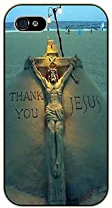 Jesus Christ cross - Thank you, sea background - Bible verse iPhone 4 / 4s black plastic case / Christian verses