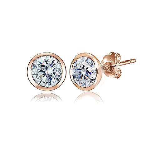 (Rose Gold Flashed Sterling Silver 5mm Bezel-set Martini Clear Stud Earrings created with Swarovski Crystals)
