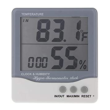 LCD Multifuncional Exterior/Interior LCD Digital termómetro electrónico higrómetro Reloj Despertador SHI: Amazon.es: Hogar