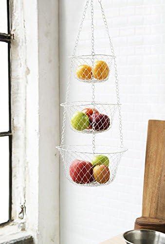 Amazon Com Metal Hanging Wire Basket 3 Tier Hanging Fruit Vegetable Kitchen Storage Basket Colors May Vary Kitchen Dining