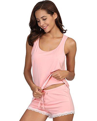 WiWi Women's Bamboo Scoop Neck Pajamas Tank and Shorts Set S-XXXXL(4XL), Pink, 2X-Large