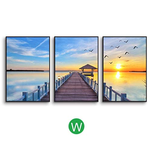 (Jjek K Photo Frame Photo Wall Decoration Painting Easel Photo Wall 3pcs, Simple Lake Weather Landscape Painting Living Room Sofa Background Decorative Wall 27.6 35.4in)