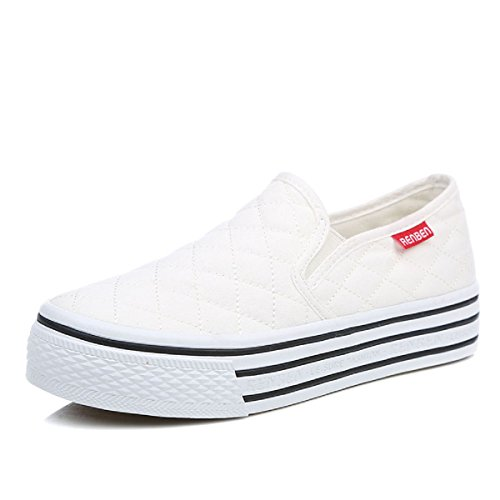 Renben Womens Canvas Slip On Flat Casual Sneaker Platform Fashion Low Top (Platform Fashion)
