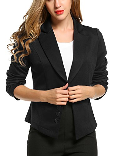 ACEVOG Women Long Ruched Sleeve Button Front Blazer (XX-Large, Black) (Ruched Blazer Sleeve)