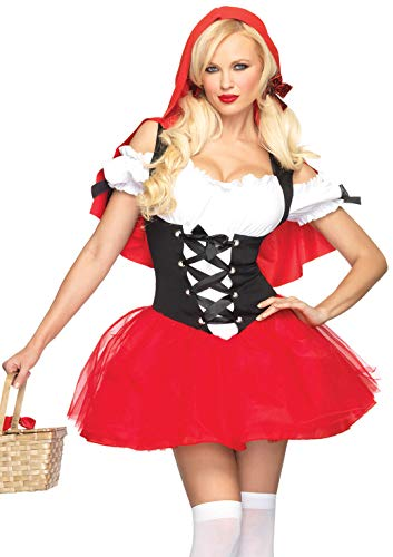 Halloween Costumes W (Leg Avenue Women's Racy red Riding, Tutu Peasant Dress w/Attached Hooded Cape, Black,)