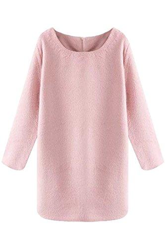 Azbro Women's Casual Round Neckline Solid Pink Shift Mini Dress