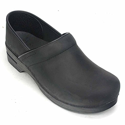 Narrow Professional Stapled Clog By Dansko Unisex Nursing Shoe Black Oiled by Dansko