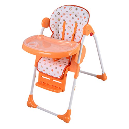 Costzon Adjustable Baby High Chair Infant Toddler Feeding Booster Seat Folding (Orange)