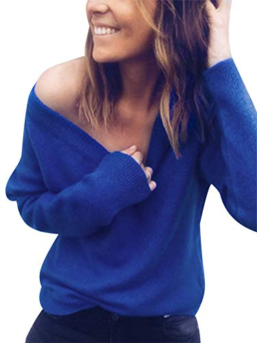 Womens Wrap Deep V Neck Sweater Knitted Long Sleeve Loose Sweater Pullover Fall Tops Jumper S-3XL