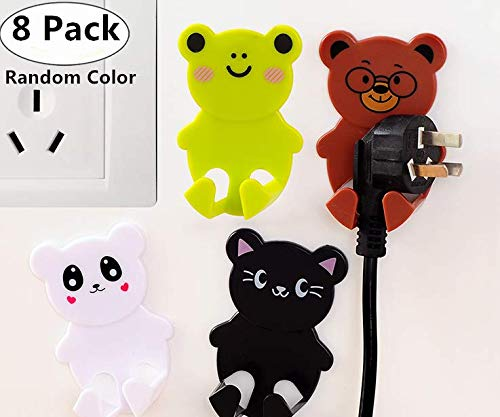 8 Pack Power Plug Hook, Magnolora Self-adhesive Cute Cartoon Plastic Cable Holder, Multifunctional Power Cord Plug Socket Hanger, Wall Hook for Home, kitchen, Garden, Tools, Garage Organizing and More