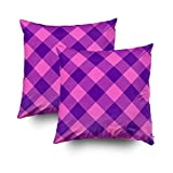 EMMTEEY Home Decor Throw Pillowcase for Sofa Cushion Cover,Pink Purple Gingham Pattern Decorative Square Accent Zippered and Double Sided Printing Pillow Case Covers 18X18Inch,Set of 2