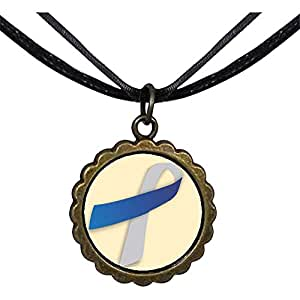 Chicforest Bronze Retro Style blue with grey Aids Ribbon Round Flower Pendant