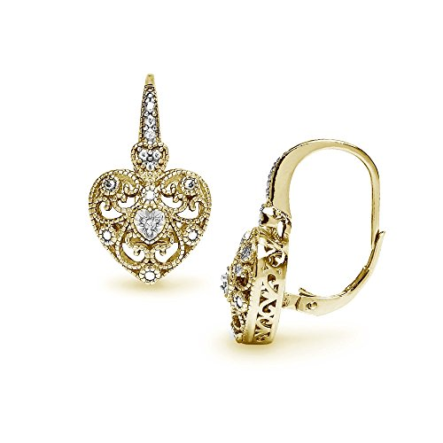 Prices for Diamond Heart Leverback Earrings - 2