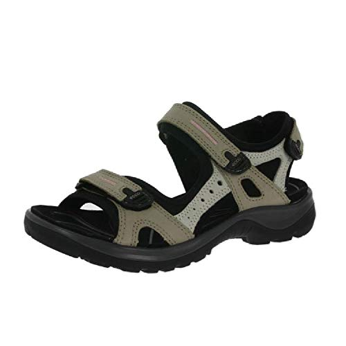 ECCO Women's Yucatan outdoor offroad hiking sandal, Atmosphere/Ice White/Black, 8 M - Cross Jean Stretch