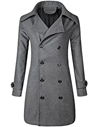 Men's Casual Double Breasted Wool Blend Mid Long Overcoat Pea Coat