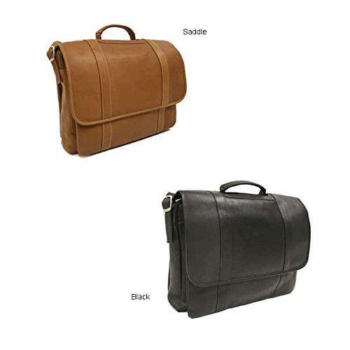 Piel Leather Flap-over Portfolio Briefcase Black by Piel Leather
